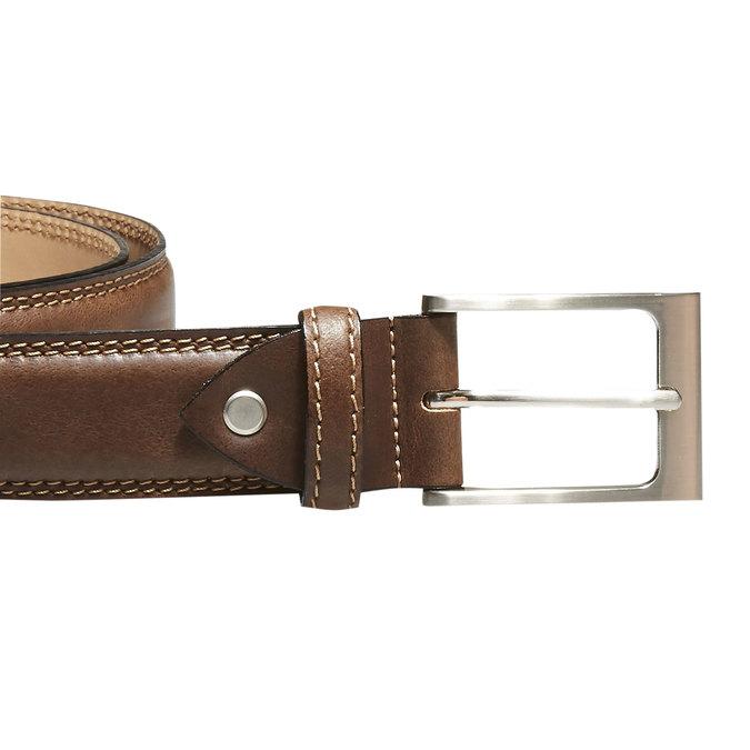 Klasyczny skórzany pasek bata, brązowy, 954-3828 - 26