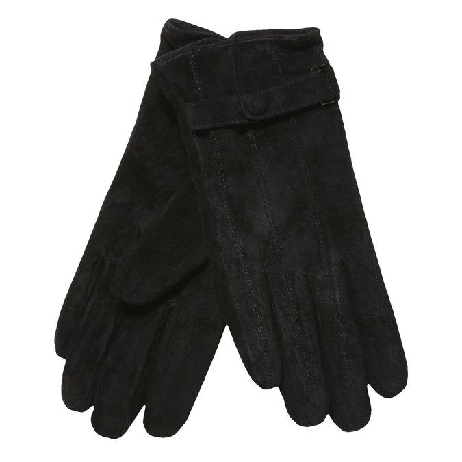 Skórzane damskie rękawiczki z paskiem bata, czarny, 903-6100 - 13