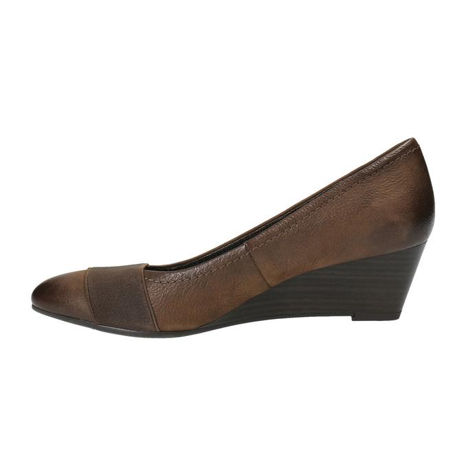 Skórzane czółenka na koturnie bata, brązowy, 626-4603 - 26