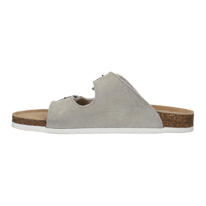 Damskie skórzane pantofle de-fonseca, beżowy, 573-8620 - 26