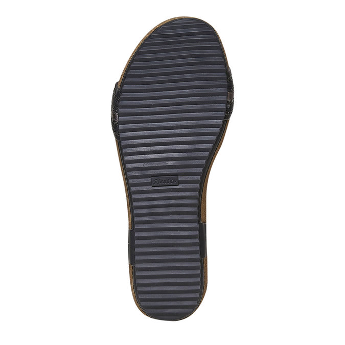 Damskie sandały na wyrazistej podeszwie bata, czarny, 561-6404 - 26