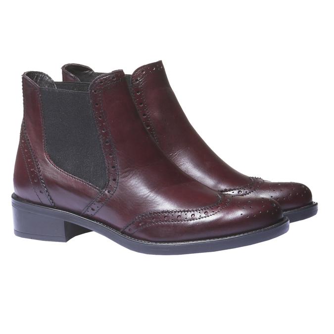 Skórzane buty Chelsea ze zdobieniem typu Brogue bata, czerwony, 594-5532 - 26