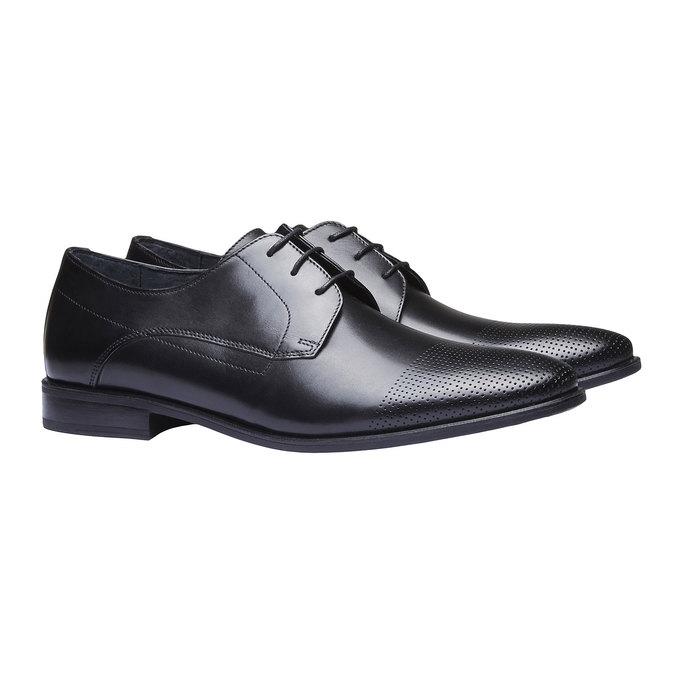 Męskie skórzane półbuty bata, czarny, 824-6275 - 26