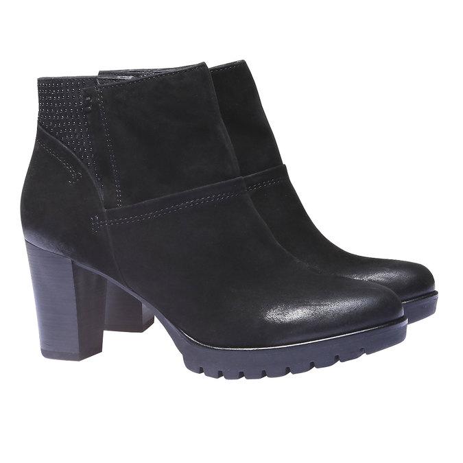 Skórzane botki bata, czarny, 796-6122 - 26