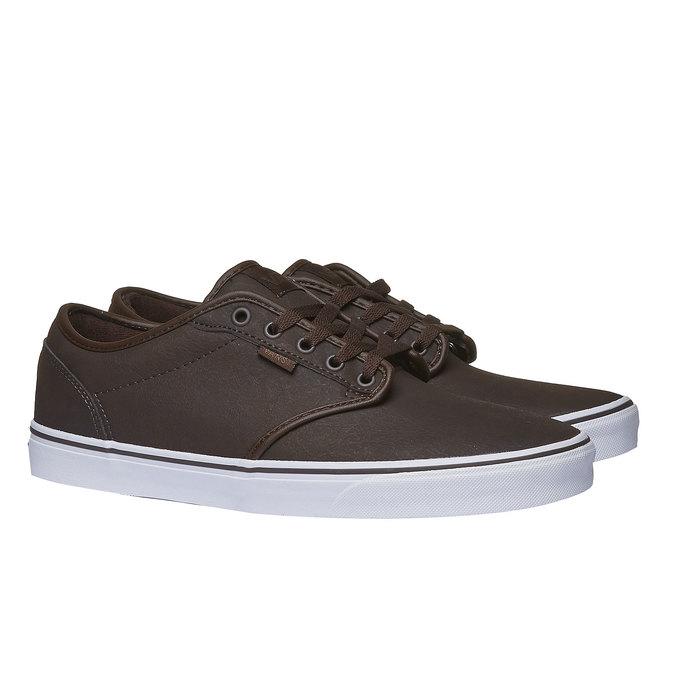 Męskie buty sportowe z białą podeszwą vans, brązowy, 801-4300 - 26