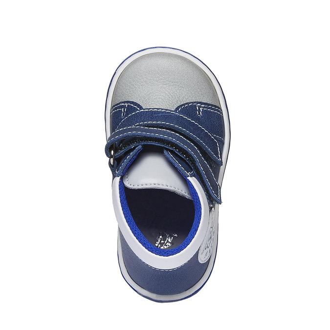 Dziecięce skórzane buty sportowe na rzepy bubblegummer, niebieski, 114-9147 - 19