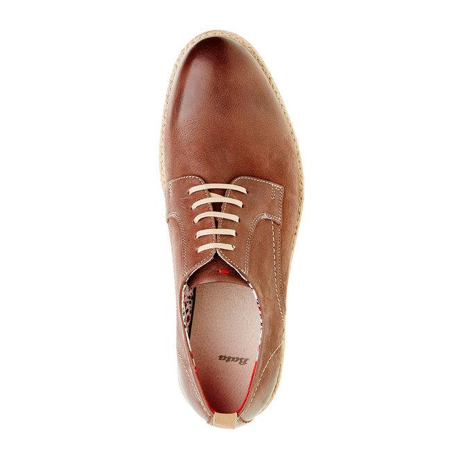Skórzane półbuty z wyrazistą podeszwą bata, brązowy, 824-4694 - 19