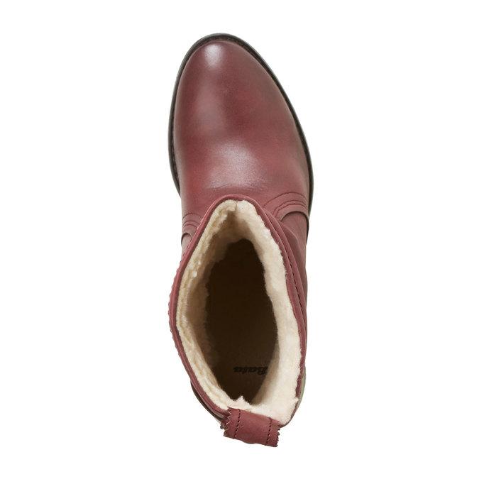 Skórzane botki bata, czerwony, 696-5108 - 19