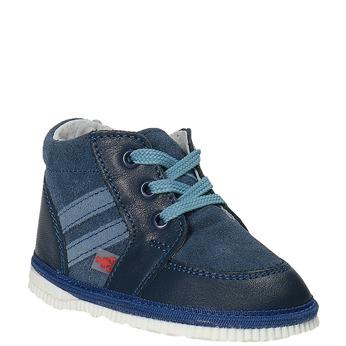 Dziecięce skórzane kapcie bata, niebieski, 104-9001 - 13