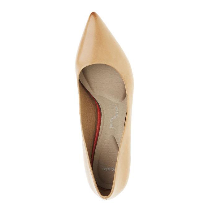 Skórzane czółenka z komfortową wkładką bata, brązowy, 624-3388 - 19