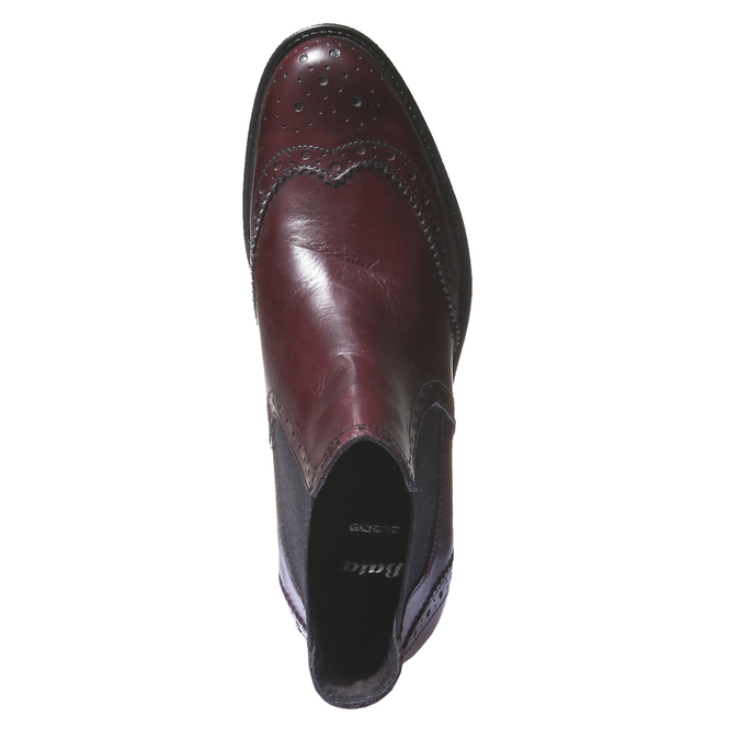 Skórzane buty Chelsea ze zdobieniem typu Brogue bata, czerwony, 594-5532 - 19
