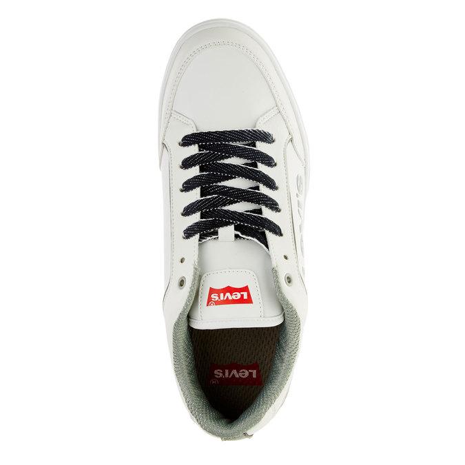 Męskie buty sportowe z dżinsowymi sznurówkami levis, biały, 841-1551 - 19