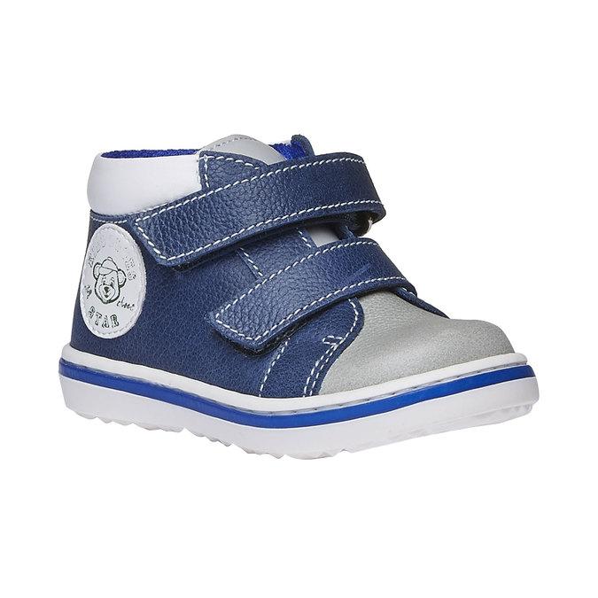 Dziecięce skórzane buty sportowe na rzepy bubblegummer, niebieski, 114-9147 - 13