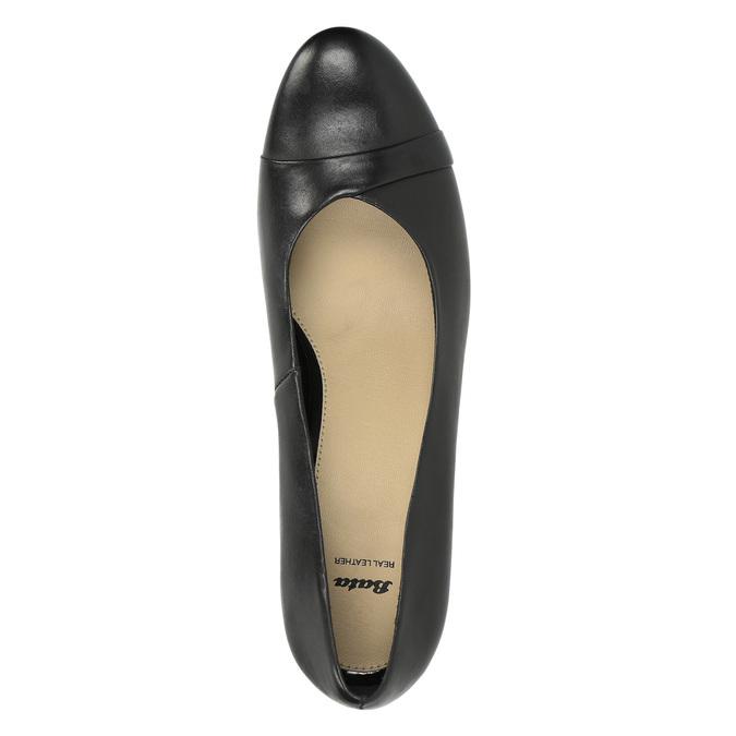 Czarne skórzane czółenka bata, czarny, 624-6600 - 19