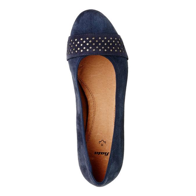 Skórzane czółenka na szersze stopy bata, niebieski, 623-9100 - 19