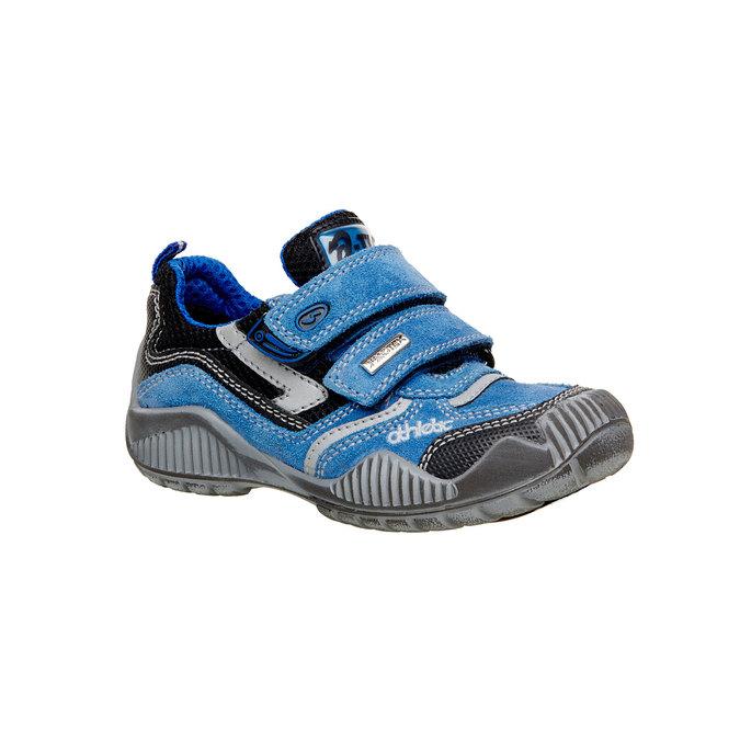 Dziecięce skórzane buty sportowe na rzepy mini-b, niebieski, 413-9130 - 13
