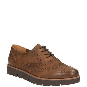 Półbuty damskie ze skóry bata, brązowy, 526-4600 - 13
