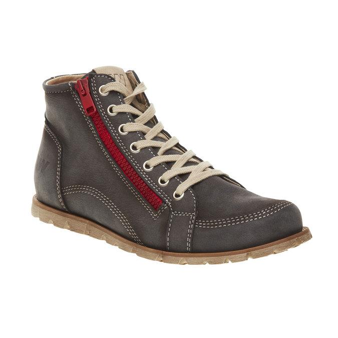 Skórzane buty sportowe do kostki z suwakiem weinbrenner, szary, 596-9110 - 13