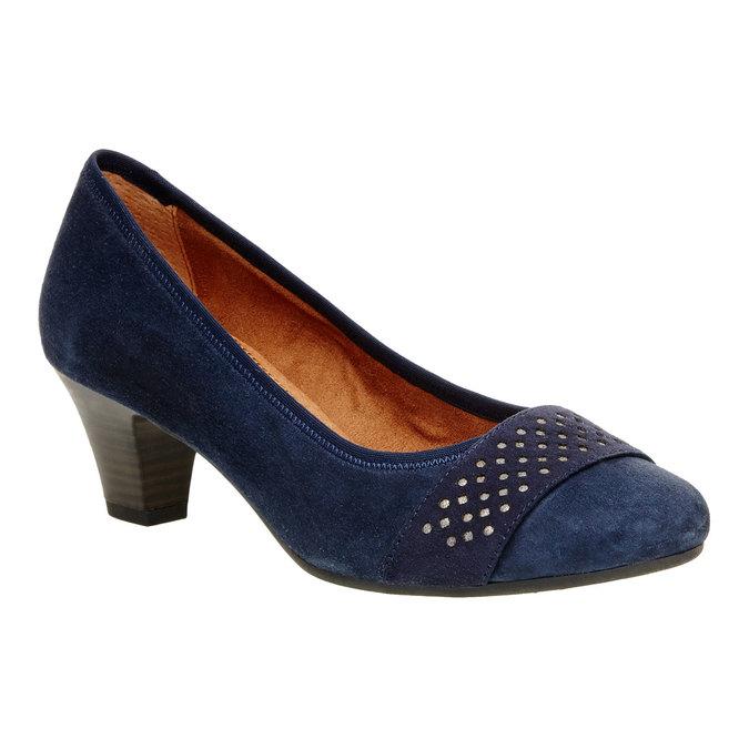 Skórzane czółenka na szersze stopy bata, niebieski, 623-9100 - 13
