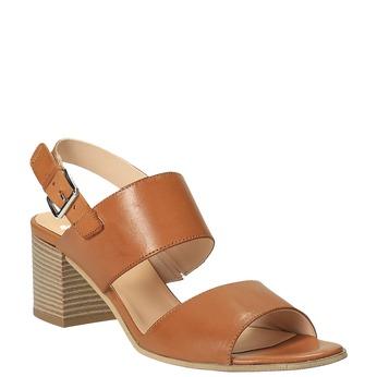 Skórzane sandały na szerokim obcasie bata, brązowy, 664-3205 - 13