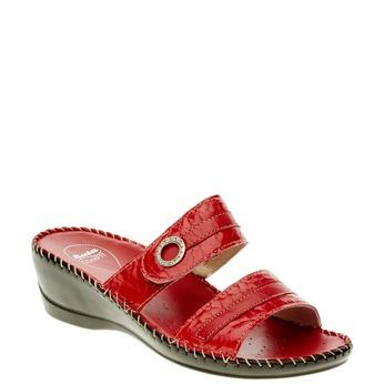 Damskie pantofle na koturnie, czerwony, 674-5249 - 13