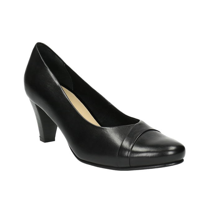 Czarne skórzane czółenka bata, czarny, 624-6600 - 13