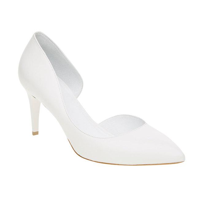 Białe skórzane czółenka bata, biały, 724-1411 - 13