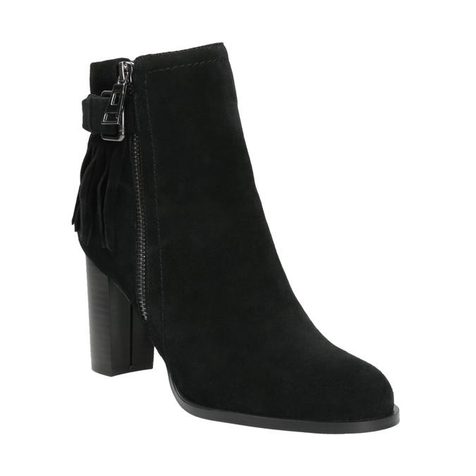 Skórzane buty za kostkę zfrędzlami bata, czarny, 793-6602 - 13