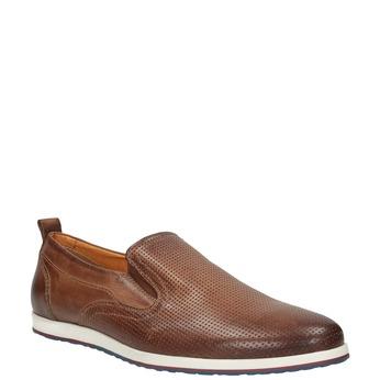 Męskie skórzane buty Slip On bata, brązowy, 814-4148 - 13
