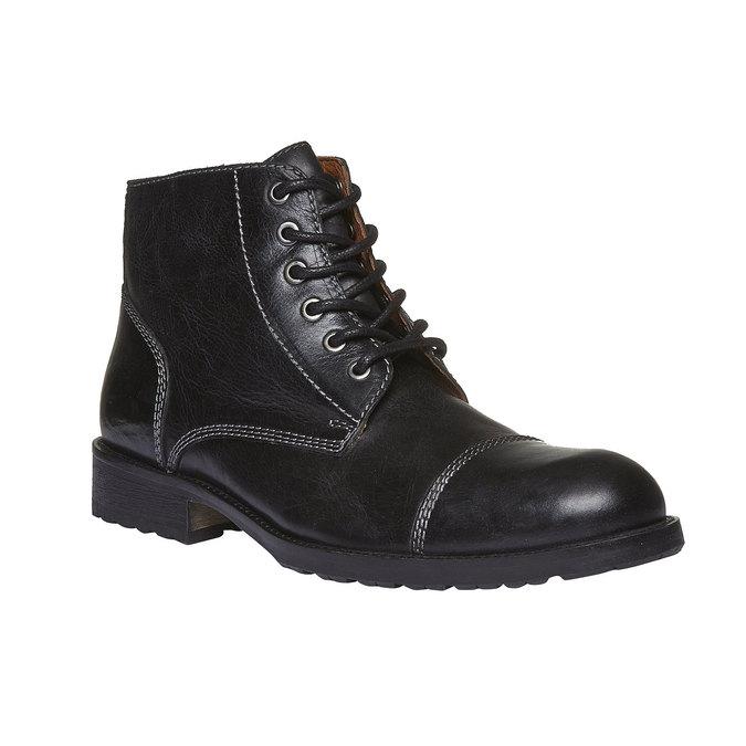 Skórzane botki z charakterystycznymi przeszyciami bata, czarny, 894-6125 - 13