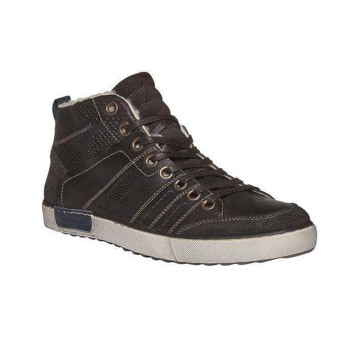 Skórzane, ocieplane buty sportowe do kostki bata, brązowy, 894-4127 - 13