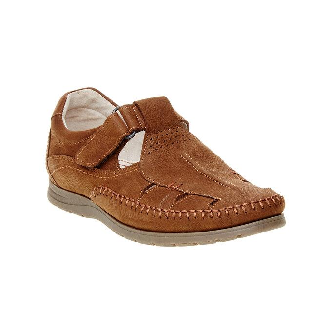 Męskie skórzane sandały, brązowy, 866-4184 - 13
