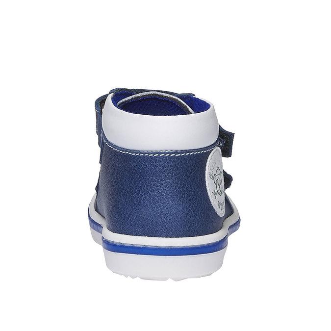 Dziecięce skórzane buty sportowe na rzepy bubblegummer, niebieski, 114-9147 - 17