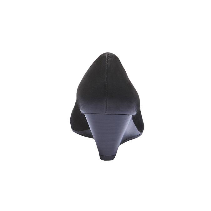 Skórzane czółenka z wydłużonym noskiem bata, czarny, 626-6103 - 17