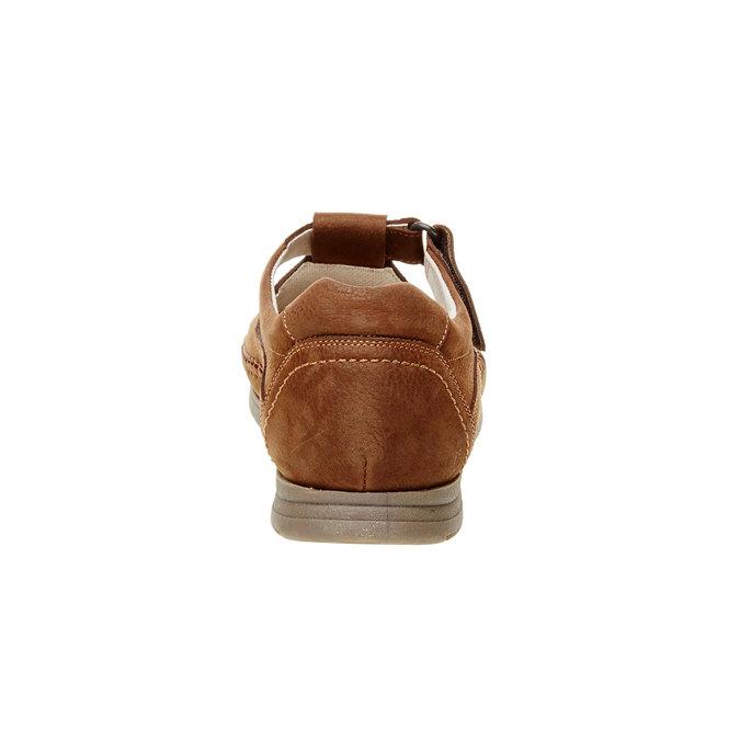 Męskie skórzane sandały, brązowy, 866-4184 - 17