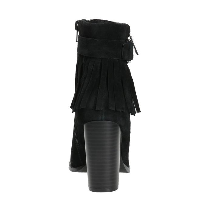 Skórzane buty za kostkę zfrędzlami bata, czarny, 793-6602 - 17