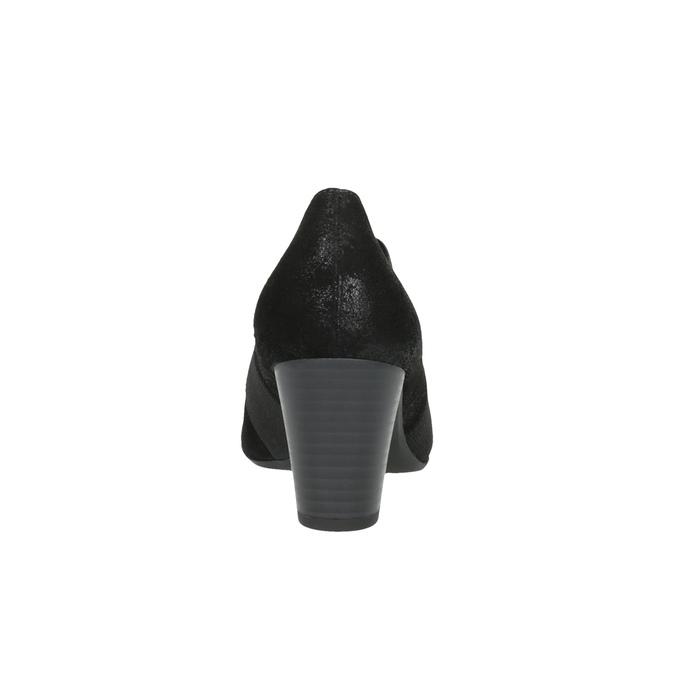 Skórzane półbuty damskie na obcasie gabor, czarny, 716-6100 - 17