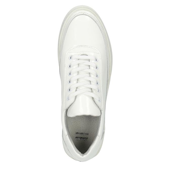 Białe trampki ze skóry bata, biały, 528-1632 - 19