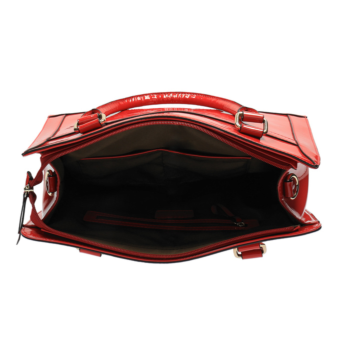 Czerwona lakierowana torebka bata, czerwony, 961-5610 - 15