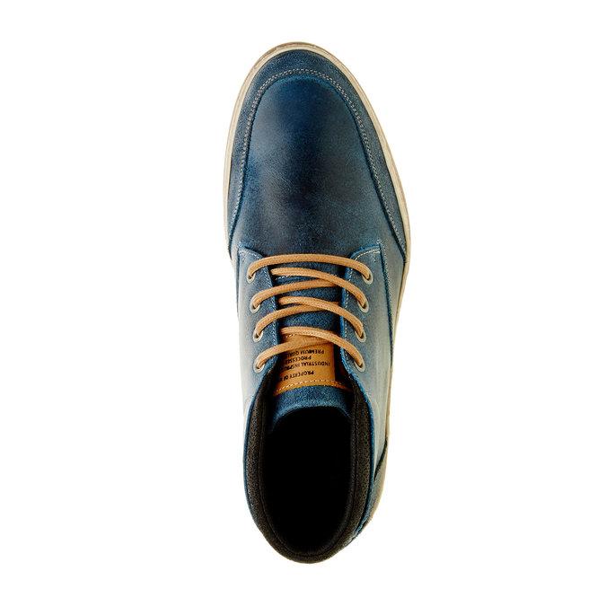 Niebieskie skórzane buty do kostki bata, niebieski, 844-9620 - 19