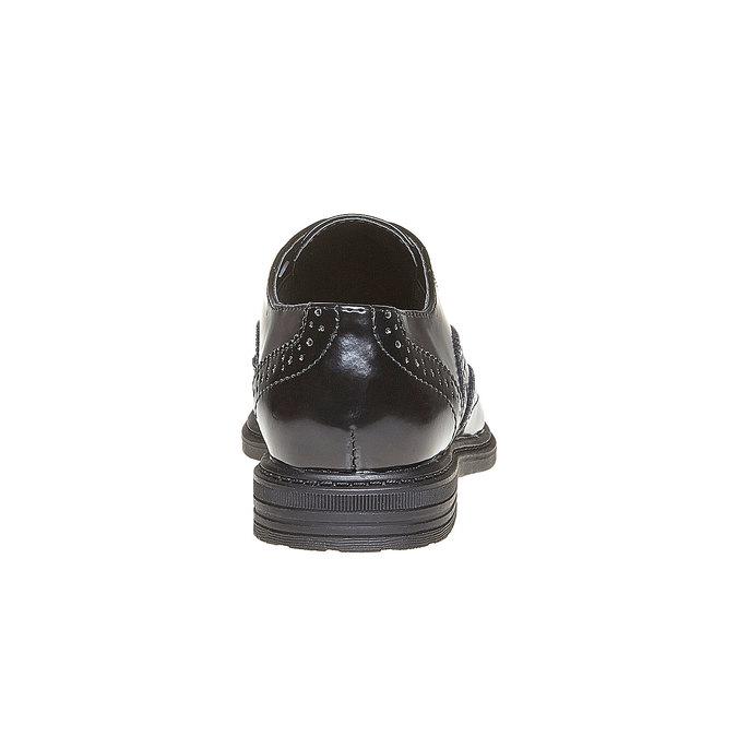 Półbuty dziecięce ze zdobieniami brogue mini-b, czarny, 321-6192 - 17
