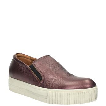 Skórzane buty Slip-on na szerokiej podeszwie bata, fioletowy, 526-5605 - 13