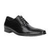 Męskie skórzane półbuty ze zdobionym noskiem bata, czarny, 824-6689 - 13
