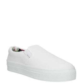 Białe buty Slip-on na szerokiej podeszwie bata, biały, 529-1631 - 13
