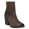 Skórzane botki na masywnym obcasie bata, brązowy, 696-4612 - 13