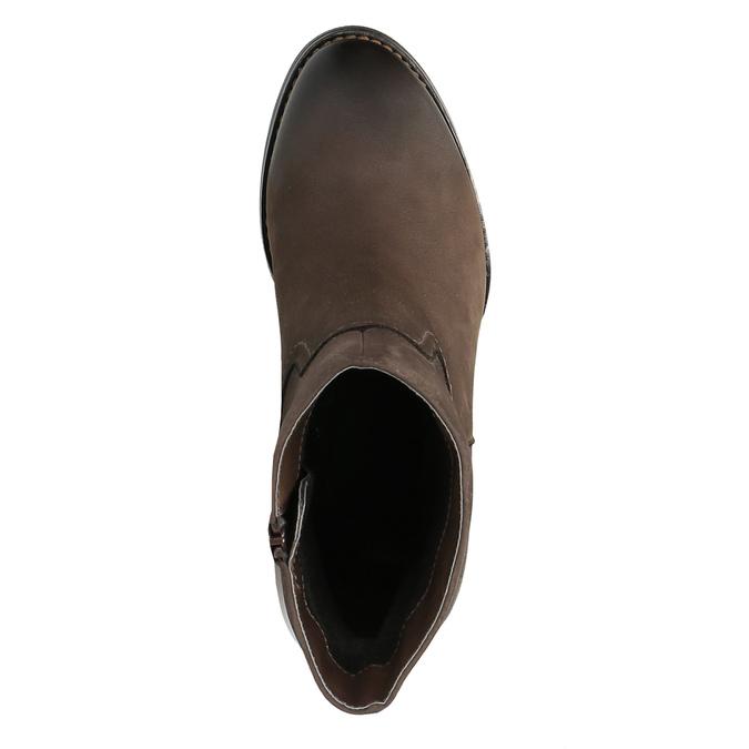 Skórzane botki na masywnym obcasie bata, brązowy, 696-4612 - 19