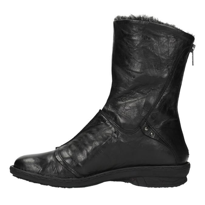 Skórzane ocieplane botki bata, czarny, 596-6624 - 19