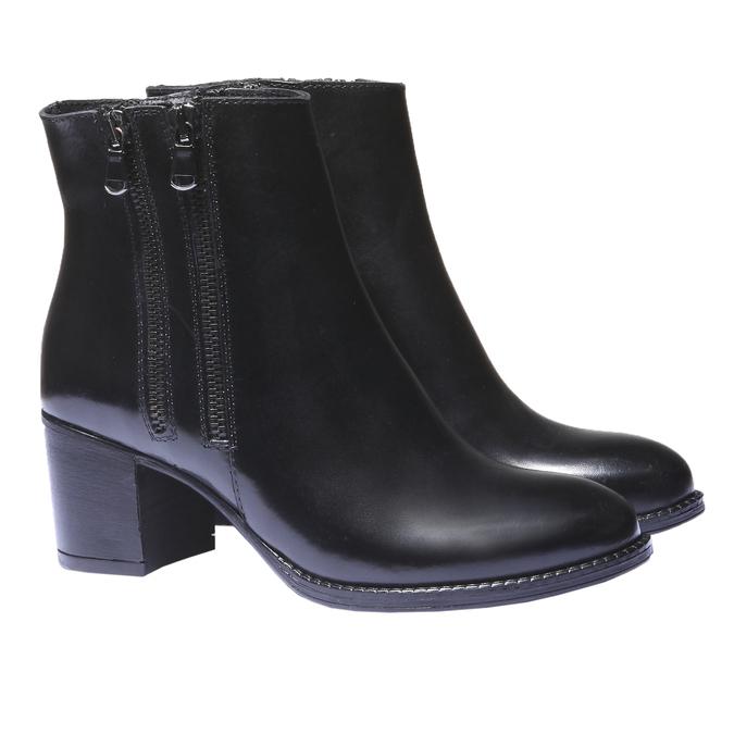 Skórzane botki bata, czarny, 794-6566 - 26