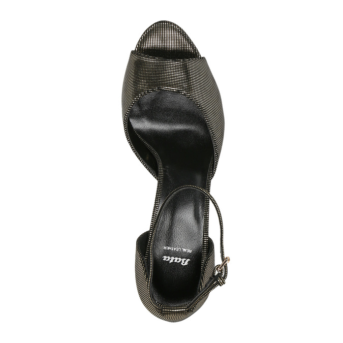 Sandały na szpilce, z metalicznymi refleksami bata, czarny, 729-8630 - 19