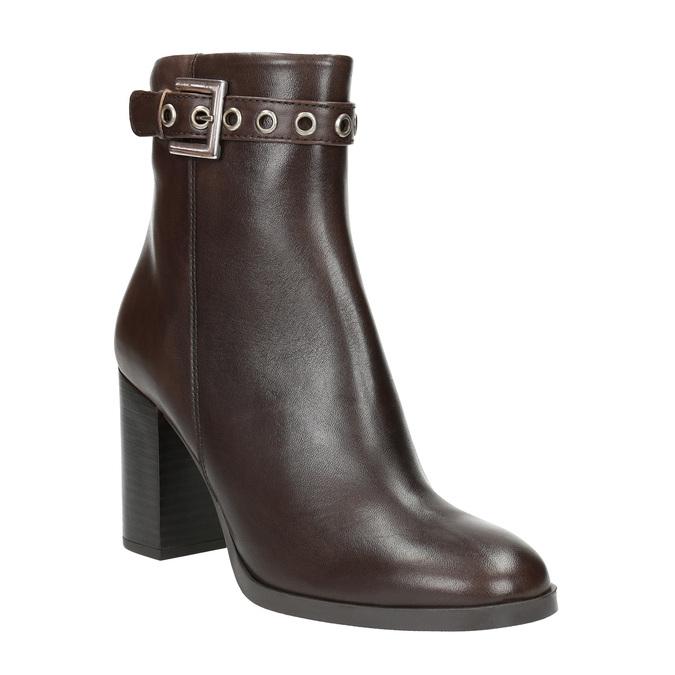 Skórzane buty do kostki na obcasie bata, brązowy, 794-4635 - 13